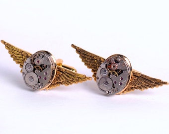 Steampunk Vintage Watch Movements and Gold Wings Cuff Links