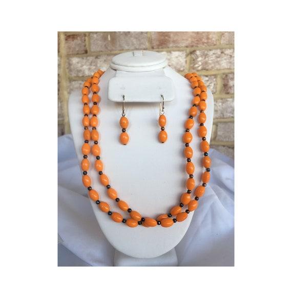 Orange Oval Bead Necklace and Dangle Earrings Set