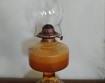 Amber Glass Vintage Hurricane Lamp