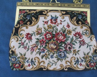 Vintage Ronte Of Beverly Hills Tapestry Purse With Gold Kiss Closure And Chain Handle Women Accessories Fashion