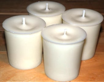 Votive 4 Pack White - Soy Blend Wax - 15 Hour Burn Time - Unscented Soy Candles