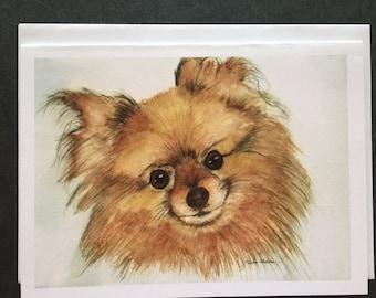 Pomeranian Watercolor Note Card