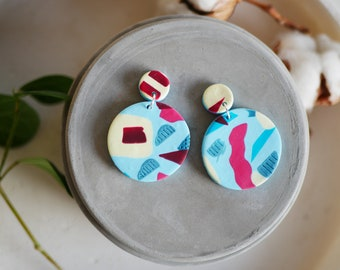 Round earrings, statement jewelry, abstract earrings, lightweight earrings, statement earrings, circle earrings, polymer clay earrings, gift