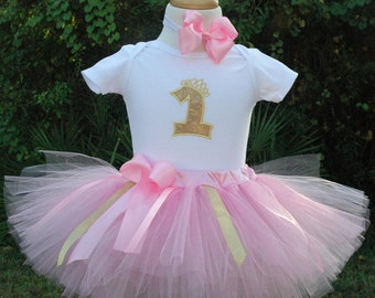 Pink and  gold 1st birthday girl outfit,1st birthday,baby girl, one year old girl,personalized,sewn at the waist,hand cut,pink tutu,