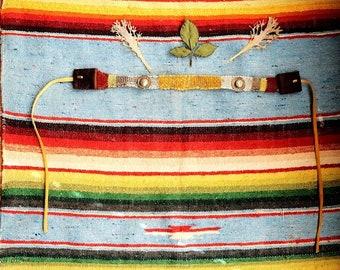Ancient heritage   Handmade leather fringe antique medallion loom weave choker necklace