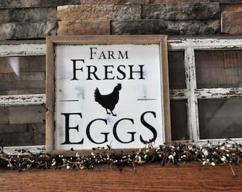 Farm Fresh Eggs Sign - Farm Fresh Milk Sign - Farmhouse Wall Decor - Rustic - Farmhouse Kitchen Sign - Fixer Upper Decor
