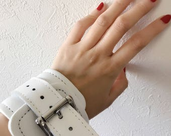 Bondage Hand Cuffs,White Leather, BDSM, restraints, BDSM wrist cuffs, Leather wrist cuffs (mature)