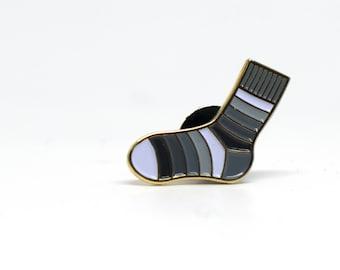 """Enamel Pin: Self Striping Sock """"Sketchbook"""""""