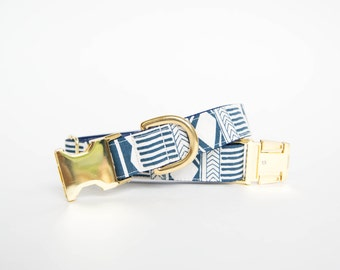 Indigo Tribal Dog Collar with gold or silver hardware