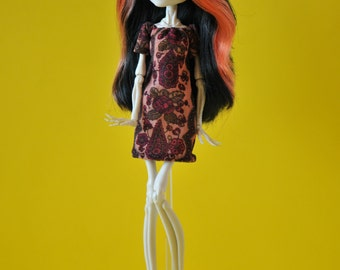 Monster High doll dress. Monster doll clothes. Printed dress with ornament