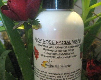 Facial Cleanse, Soapfree Wash, Cleansing oil, Serum, Make-up Remover, Aloe Vera, Rosewater, Olive oil, Sensitive skin 8 oz. size