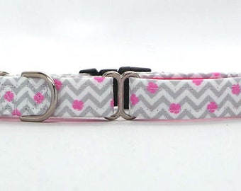 PINK Shamrocks and Chevron CANVAS Pet Collar (Martingale, Buckle, or Tag)