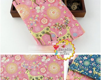 1 x fabric coupon 50x145cm deer print pattern pure linen at the bottom pink