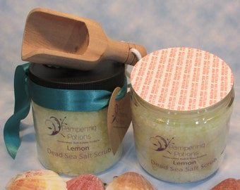 Lemon Salt Scrub, Perfect for Heels and Hands, Scrub for Dry Skin, Dead Sea Salt Skin Polish, Pedicure Treatment for Hard Working Feet
