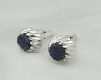 Classy Vintage Blue Sodalite Sterling Silver Cufflinks.  #SODALITE-CL