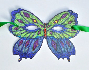 Butterfly Mask with Green Ribbons + Embellishments