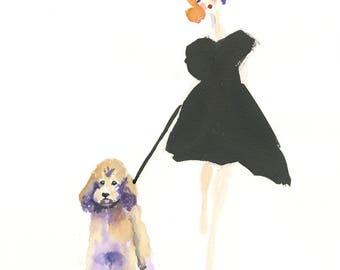 Poodle dog Art, Poodle Art Print, Poodle, Dog art, watercolor poodle, watercolor dog,