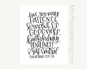 Instant Download - Fruit of the Spirit- Love Joy Peace Patience Kindness Goodness Faithfulness Gentleness & Self Control - Galatians 5:22-23