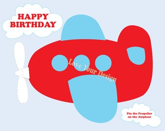 Red Airplane - Pin the Propeller on the Airplane Birthday Game- DIGITAL INSTANT DOWNLOAD