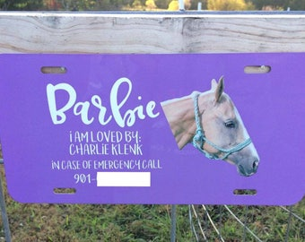 Custom License Plate, Custom Horse Show Plate, Horse Stall Sign, Traveling Horse Show Sign, In Case of Emergency Sign, Horse Show