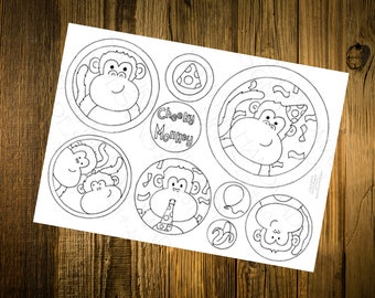 Cheeky Monkeys Birthday, Downloadable Print Artwork to Colour in, Chimps, Hand Drawn Design, Card Making, Fun Design, Cute Card, Download