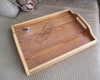Serving Tray Reclaimed Wood -- Great Wedding Gift! -- Wooden Handles -- Custom Logo or Name Available