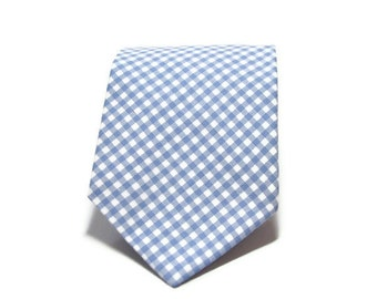 Periwinkle Gingham Necktie - Boys or Mens Tie
