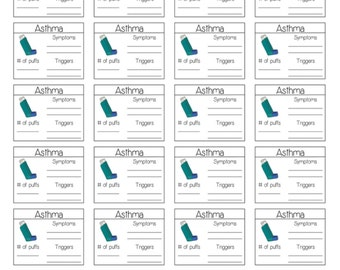 ASTHMA TRACKING STICKERS: Printable & Perfect for All Planners (Digital Pdf File)