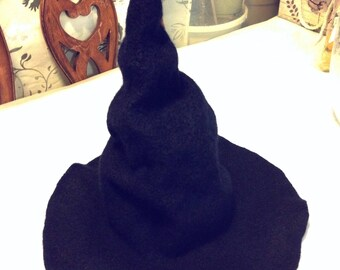 wizard hat, wet felted,  hand made, natural wool, merino wool