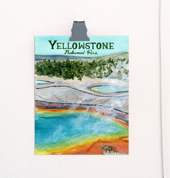 Yellowstone, Wyoming National Parks Travel Poster
