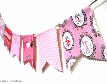 Valentine Bunting Banner,Ready2SHIP, Love Potion #9 Bunting Banner, Febuary Bunting Banner, Paris Pink  Bunting, Valentines Photography Prop