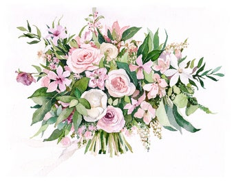 ORIGINAL Custom Bridal Bouquet Painting in Watercolor. Wedding anniversary gift. Botanical painting. Romantic memory. Flowers portrait