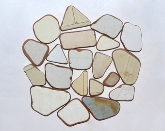 White Beige Sea Pottery 20 Pieces, Greek Sea Pottery, Sea Teraccotta, Sea Ceramics, Mosaic Tiles, Beach Pottery for Crafting / Mosaics