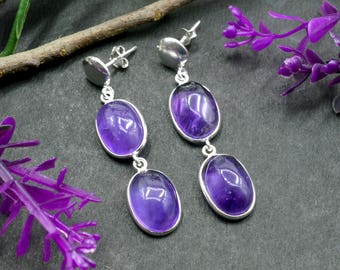 Natural Amethyst Oval Gemstone Chandelier Earring 925 Sterling Silver E124