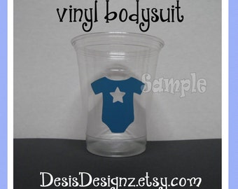24 Boy Baby shower assorted vinyl decal 12 oz. 16 oz or 20 oz. clear party cups Shower decoration boy sprinkle party bodysuit vynil