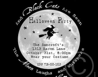 Invitations Halloween, 6x6, Printable, Halloween Invite, Halloween Party, Halloween Printable, Halloween, Witch, Black, Moon
