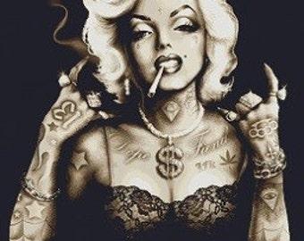 Modern Cross Stitch Kit,  Marcus Jones,  'Gangster Marilyn Monroe', Counted cross stitch, Legend,