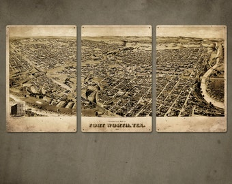 """Vintage Map of Fort Worth METAL Triptych  48""""x24"""" FREE Shipping"""