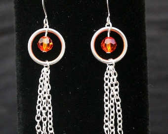 Red and Orange Swarovski Crystal and Chain Drop Earrings