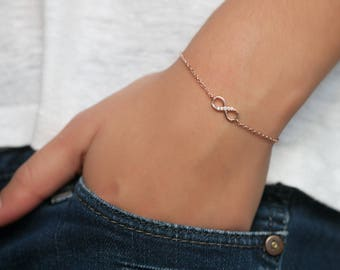 Rose Gold-Filled  Infinity Cubic Zirconia Bracelet - Friendship bracelet - Pink Gold  Infinity Bracelet - Minimalist Jewelry