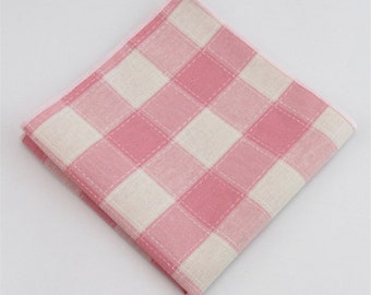 Pink Plaid Pocket Square | pink gingham handkerchief | mens handkerchief | pocket square for wedding | mens pocket squares | pink wedding