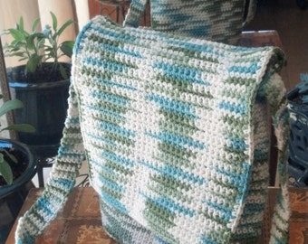 Durable 100% Cotton Crochet Messenger Bag Purse - Blue, Green, & Cream - Various Sizes