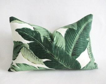 Lumbar Pillow Cover Tropical Palm Leaves Bahama