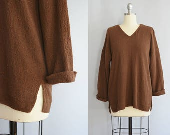 Vintage Nubby Cotton Pullover | Slouchy Tunic Cut | Medium-Large