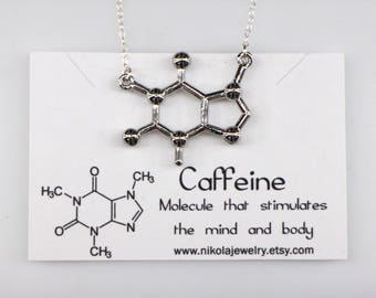 Caffeine Molecule Necklace in Gold or Silver, Chemistry Necklace, Coffee Inspired, Biochemistry Molecule, Biology Jewelry, Coffee Lovers