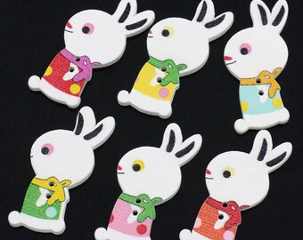5 large wood buttons - Rabbits - multicolored - 2 holes - 32 x 10 mm