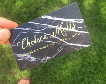 Gold Foil Business Cards, Unique Business Cards, Cosmetologist, Makeup Artist, Marble Business Cards, Black and Gold, Eyelash