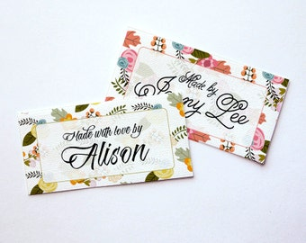 """Garden Floral Custom Fabric Labels Sew-on or Iron-on • 80 Labels  2 x 1"""" Uncut • Your Name Added • Colorfast 100% Preshrunk Cotton"""