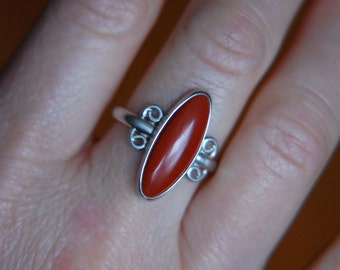 Long Oval Ring Red Stone Ring Metalwork Ring Southwestern Jewelry Jasper Ring Metalwork Jewelry