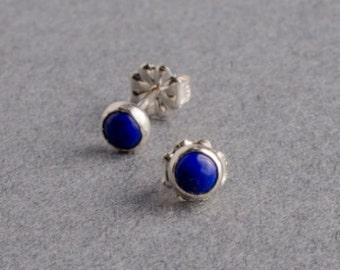 Lapis Silver Dot Stud Earrings